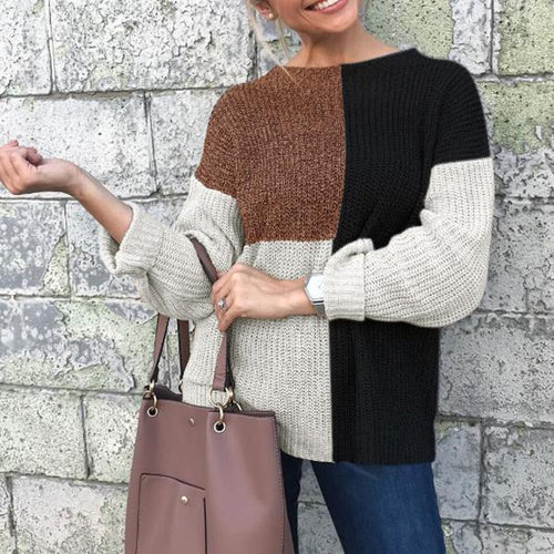 Women's Casual Loose Stitching Knit Sweater