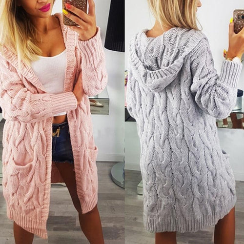 Hooded Long Sleeve Pocket Casual Cardigan