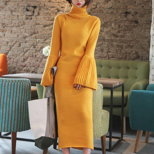 Fashion Slit High Collar Pure Colour Bell Sleeve Dresses