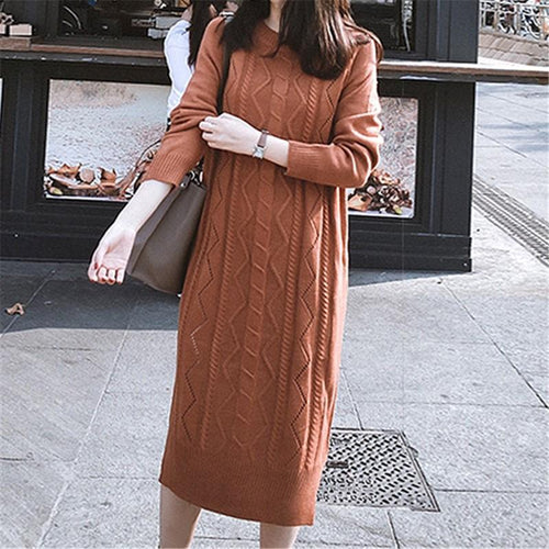Fashion Pure Color Loose Knit Sweater Maxi Dress