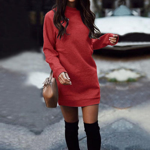Casual Round Collar Plain Loose Knit Sweater Shift Dress