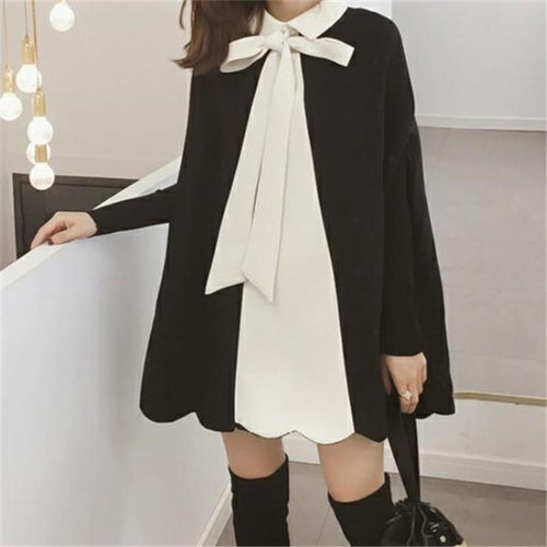 Fashion Frenulum   Bowknot Bat Sleeve Loose Shawl Cloak