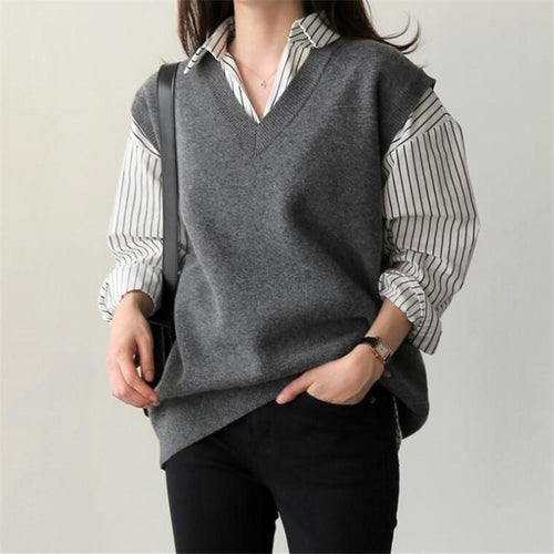Fashion Loose   Sleeveless Knitted Sweater Vest Blouse