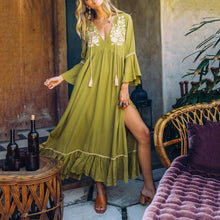 Load image into Gallery viewer, Fashion V Collar Flouncing Bohemia Style Loose Vacation Beach  Dress