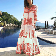 Load image into Gallery viewer, Spring Summer Cotton And Linen Floral Printed Vacation Maxi Dress