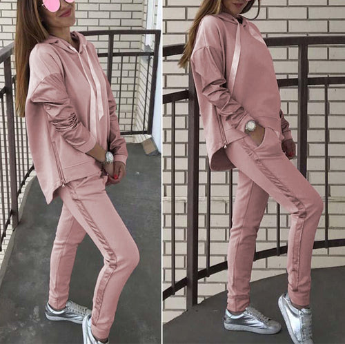 Casual Loose Long Sleeve Pure Colour With Hat Suit