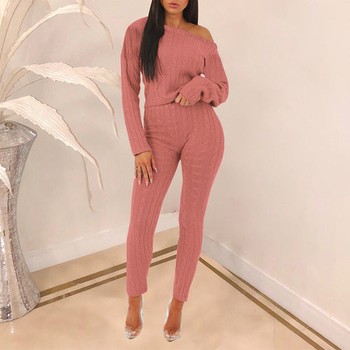 Casual Sloping Shoulder Pure Colour Elastic Suit