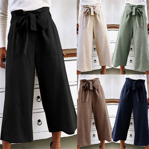 Summer Plain Loose Belted Casual Wide Leg Pants