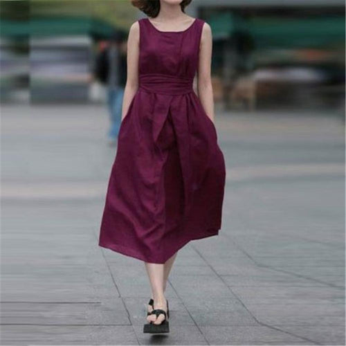Casual Round Collar Plain Sleeveless Belted Skater Dress