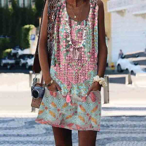 Crew Neck Casual Floral-Print Sleeveless Summer Dresses