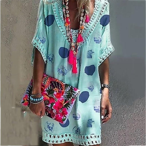 Vacation V Collar Lace Split Joint Printed Loose Dress