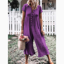 Load image into Gallery viewer, Women's Leisure Pure Color Buckle Short Sleeved Trousers Jumpsuit