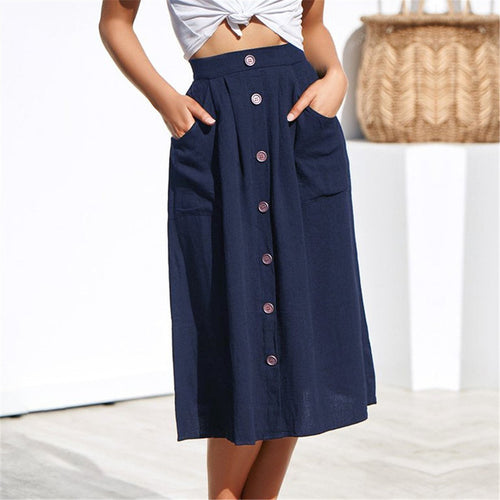 Summer Single Breasted Loose Cotton And Linen Skirt