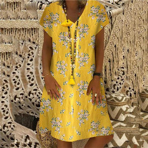Fashion Printed V Collar Short Sleeves Casual Dresses