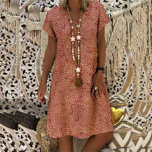 Vintage V Neck Short Sleeve Printed Colour Dress