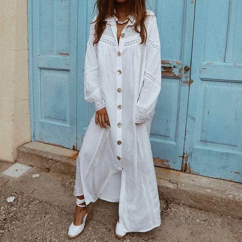 Fashion Pure Color Lapel Hollow Out Long Sleeve Shirt Dress