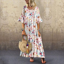Load image into Gallery viewer, Leisure Trumpet Sleeve Broken Flower Dress