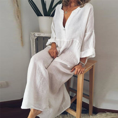 Casual Cotton And Linen V Collar Solid Color Loose Casual Maxi Dress