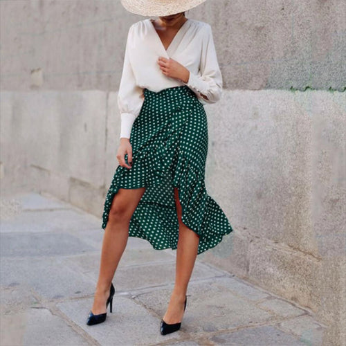 Casual Polka Dot Belted Ruffled Splicing Skirt