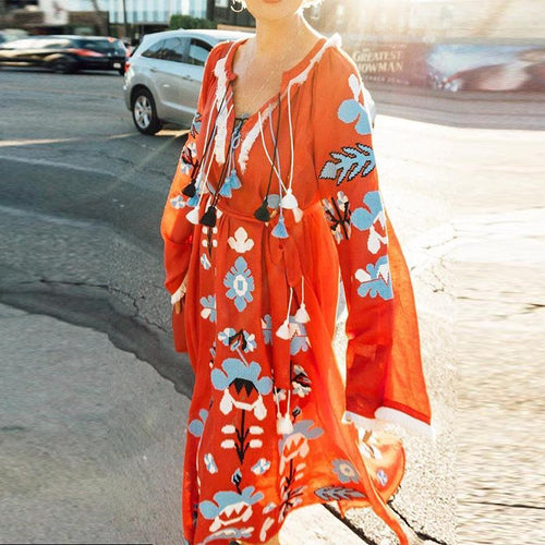Women's V-Neck Printed Long Sleeve Dress