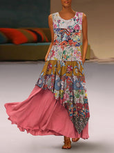 Load image into Gallery viewer, Bohemian Round Neck Sleeveless Pleated Splicing Printed Colour Dress