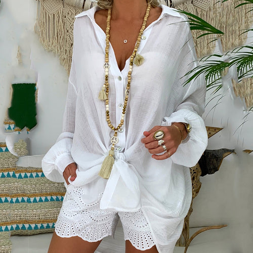 Boho Turndown Collar Pure Colour Loose Blouse