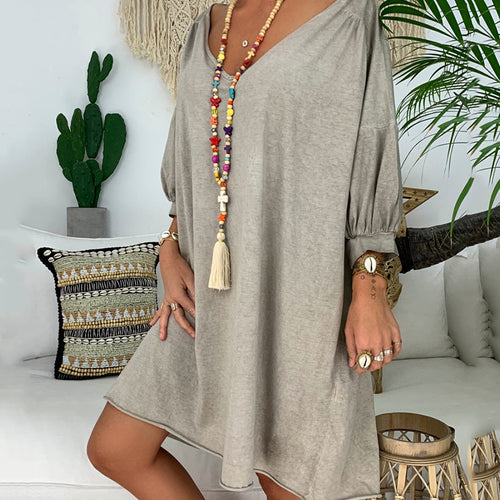 Boho V Neck Pressure Plait Pure Colour Dress