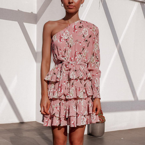 Asymmetrical Sleeve Ruffled Cake Dress