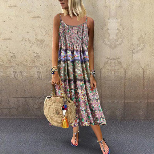 Sexy Sling Printing Splicing Cotton Hemp Casual Dresses