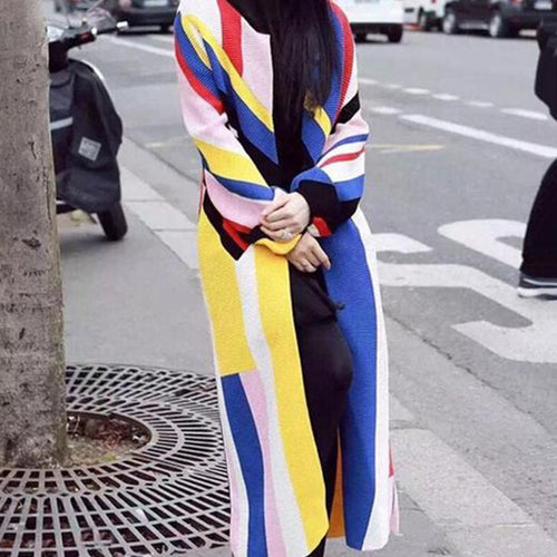 Casual Rainbow Stripe Loose Knitted Sweater Dresses