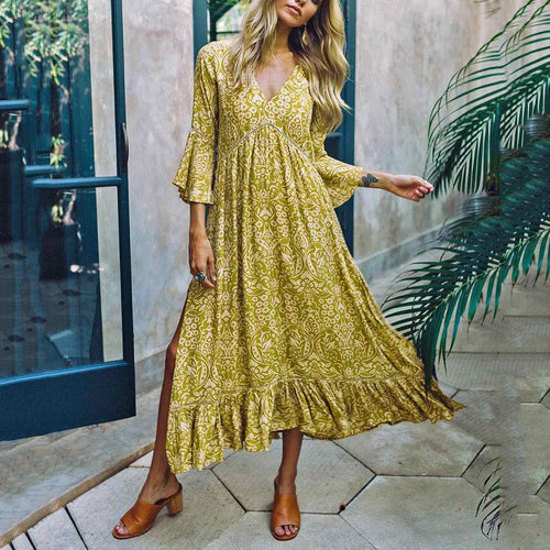 Boho Bell Sleeve V Neck Bohofloral Pattern Slit Dress