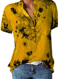 Floral Printed V Neck Loose Fitting Blouse