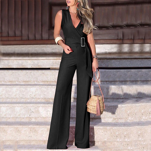 Commuting V Neck Belted Sleeveless Jumpsuit