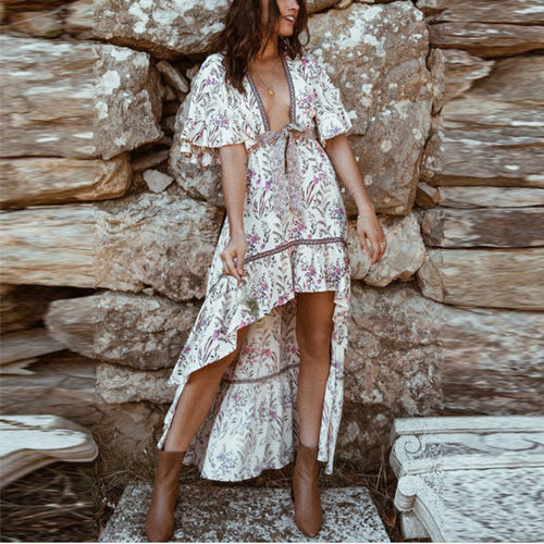 Fashion Print V-Neck Bare Back Short Sleeve Dress