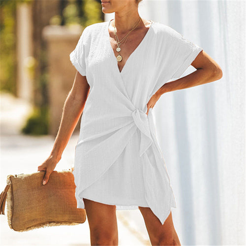 Fashion V Collar Short Sleeve Solid Color Mini Dresses