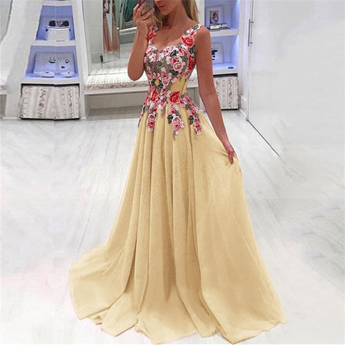 Sexy V Collar Printing Stitching Sleeveless Evening Dresses