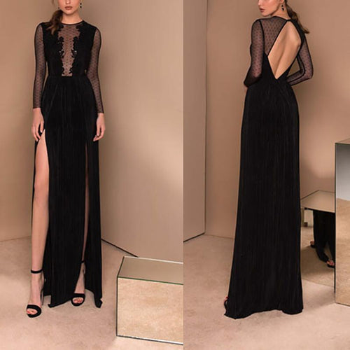 Sexy Lace Bare Back Long Sleeve Splicing Slit Evening Dress
