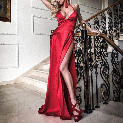 Sexy V Neck Pure Color Sling Fork Evening Dresses