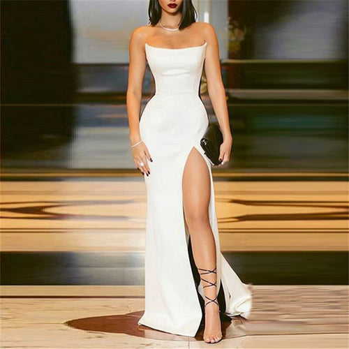 Sexy Sleeveless Split Splicing Color Evening Dresses