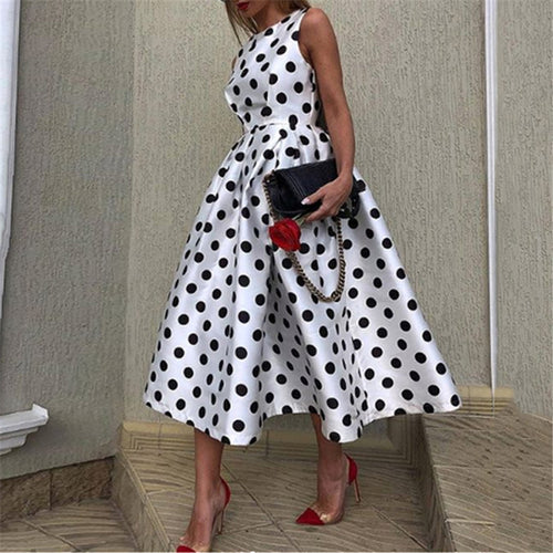 Fashion Round Collar Sleeveless Wave Point Skater Dresses