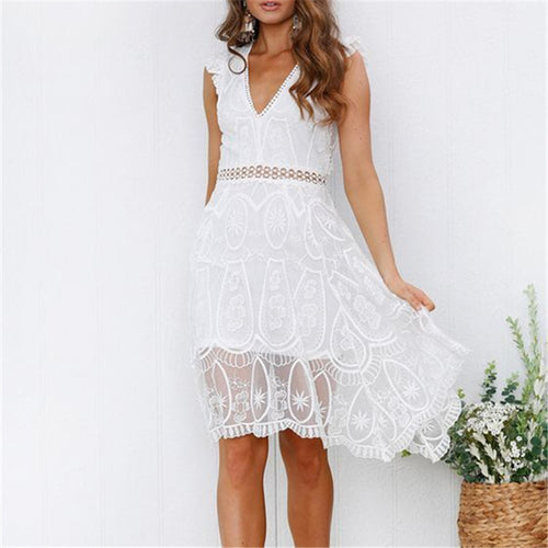 Fashion V Neck Lace Stitching Hollow Bodycon Dresses