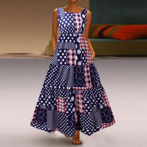 Fashion Sleeveless Printing  Round Collar Vacation Dress