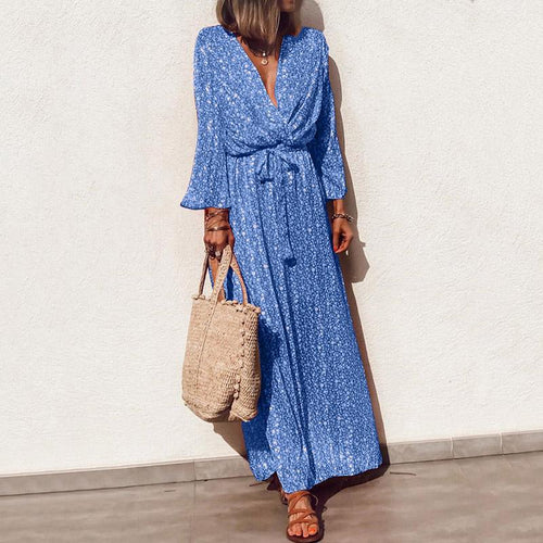 Elegant V Neck Floral Pattern Long Sleeve Casual Maxi Dress