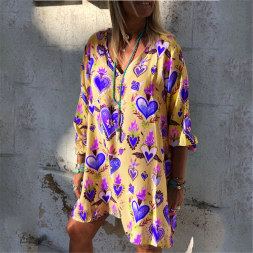 Women's Loose Casual V-Neck Printed Sleeve Dresses