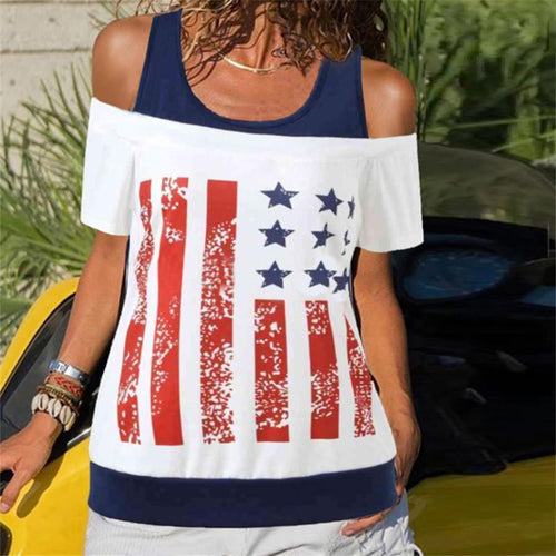 Fashionable Off Shoulder American Flag Stitching T Shirt