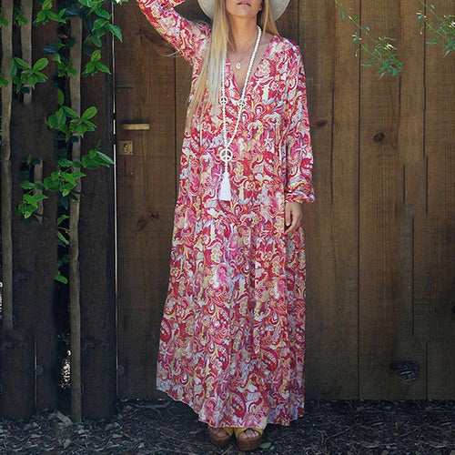 V-Neck Print Long Sleeve Loose Dress