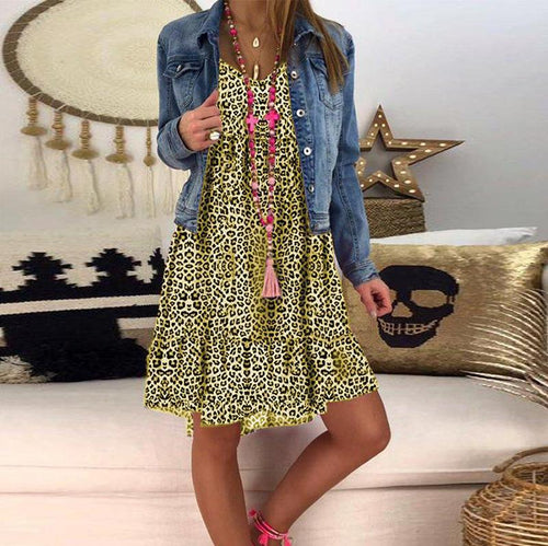 Casual V Neck Leopard Print Splicing Bubble Sleeves Dress