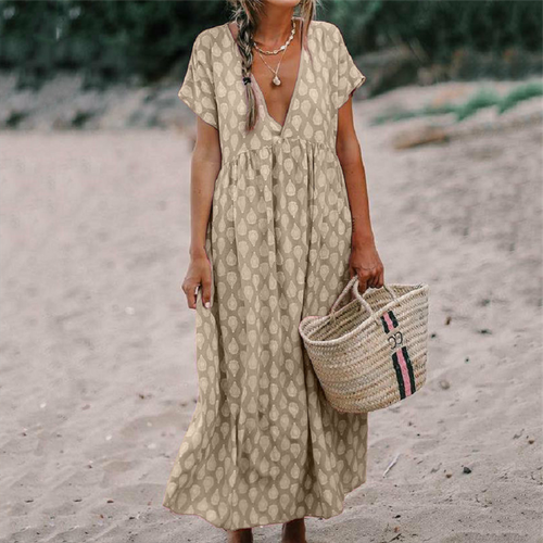 Sexy V-Neck Short Sleeve Loose Printed Casual Maxi Dresses