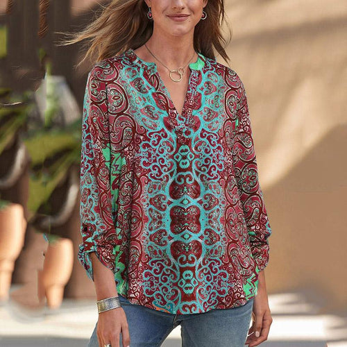 Women's V-Neck Loose Printed Shirt
