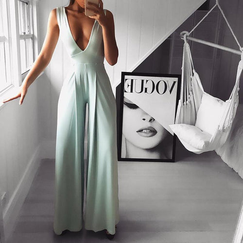 Sexy V Neck  Pure Colour Sleeveless Jumpsuit
